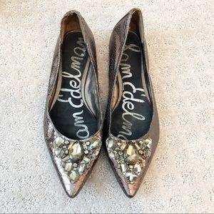 Sam Edelman Gunmetal Leather Embellished Flats